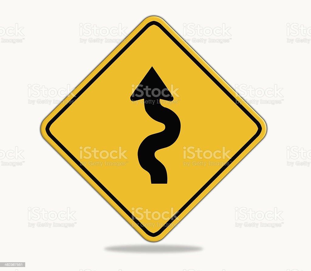 Winding road sign. vector art illustration