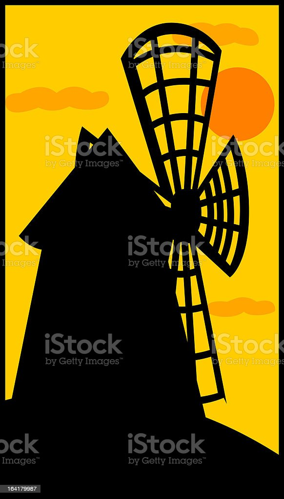 windmill at sunset royalty-free stock vector art
