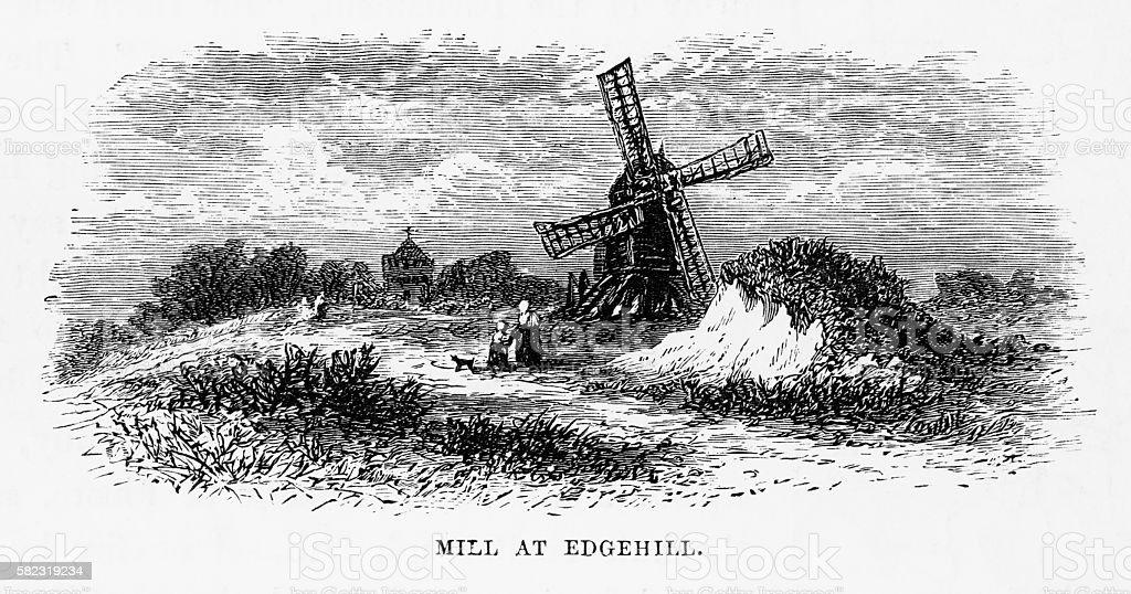 Windmill in Edgehill, England Victorian Engraving, Circa 1840 vector art illustration
