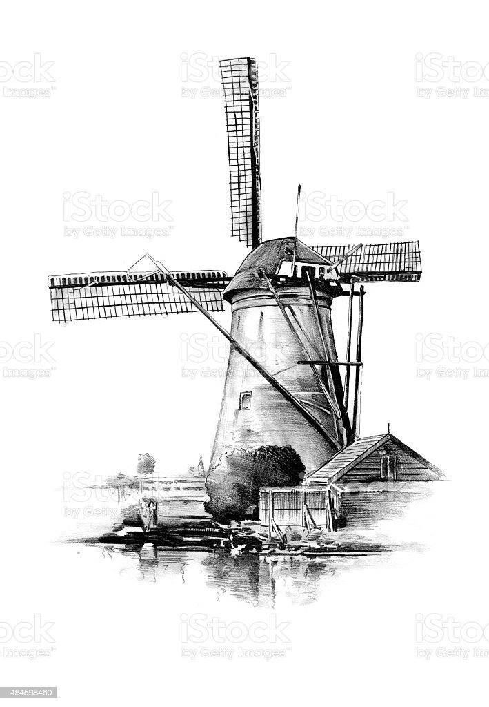 windmill old retro vintage drawing vector art illustration