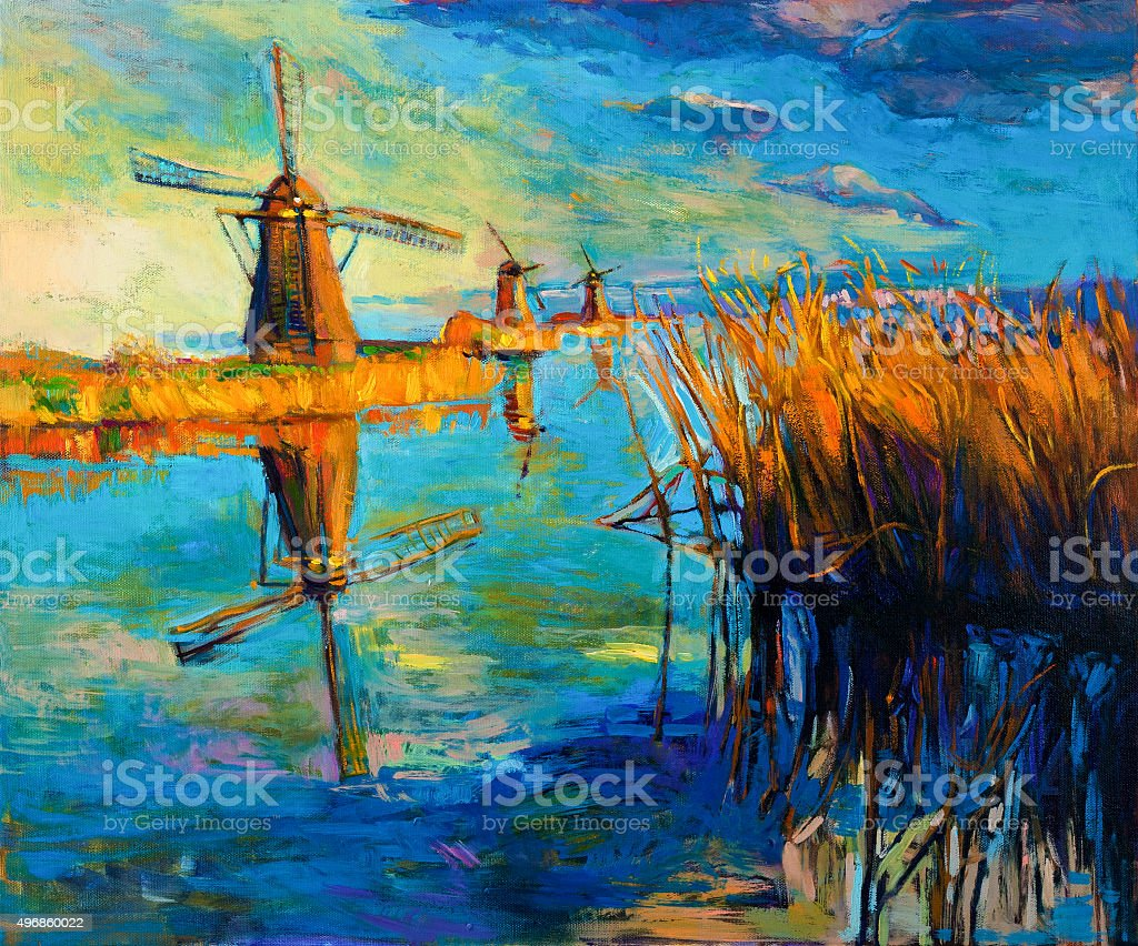 Windmills vector art illustration