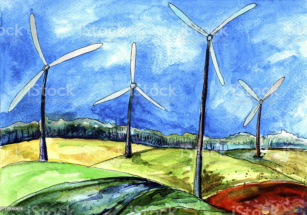 Windmills in the field of wind energy, watercolor royalty-free stock vector art