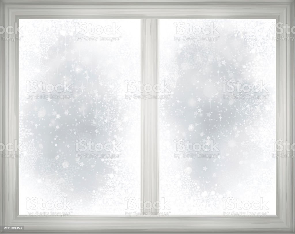 Window frame  on snow background. vector art illustration