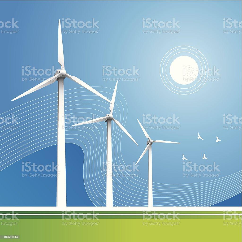 Windturbines blue sky royalty-free stock vector art