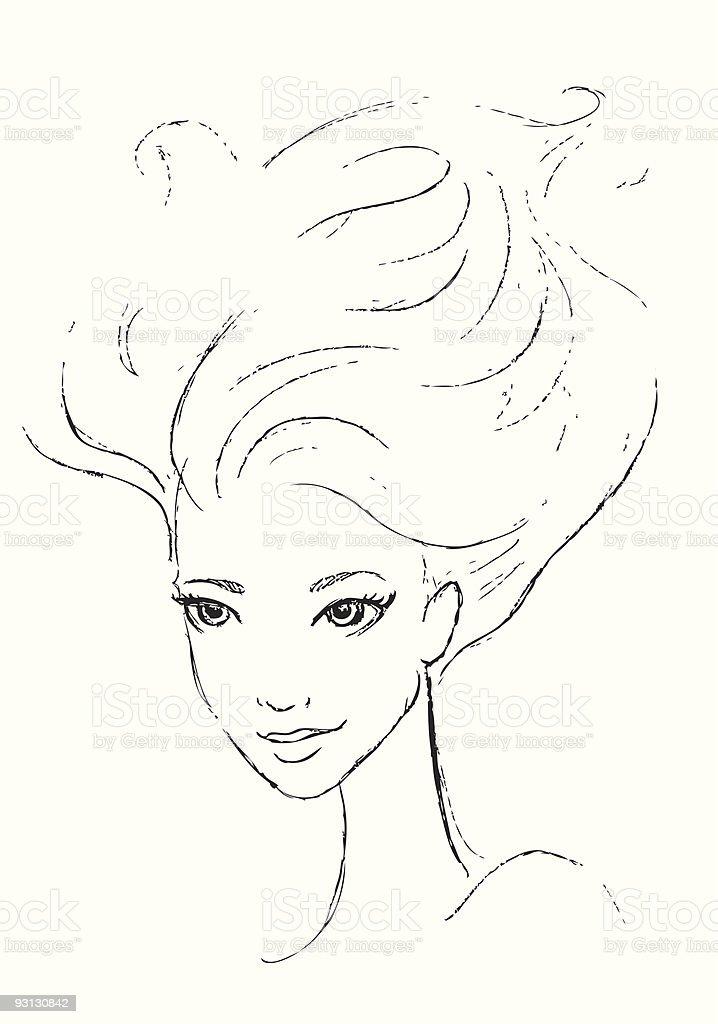 Windy Hair vector art illustration