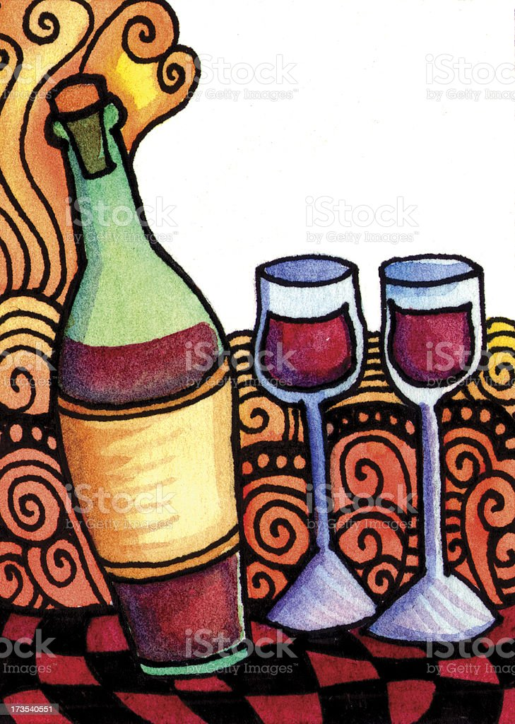 Wine and Glasses vector art illustration