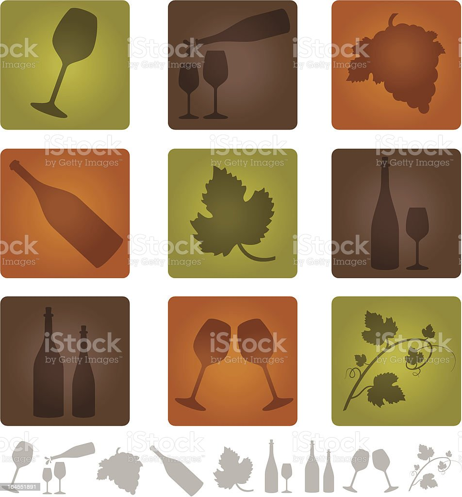 Wine and Vineyard Icons vector art illustration