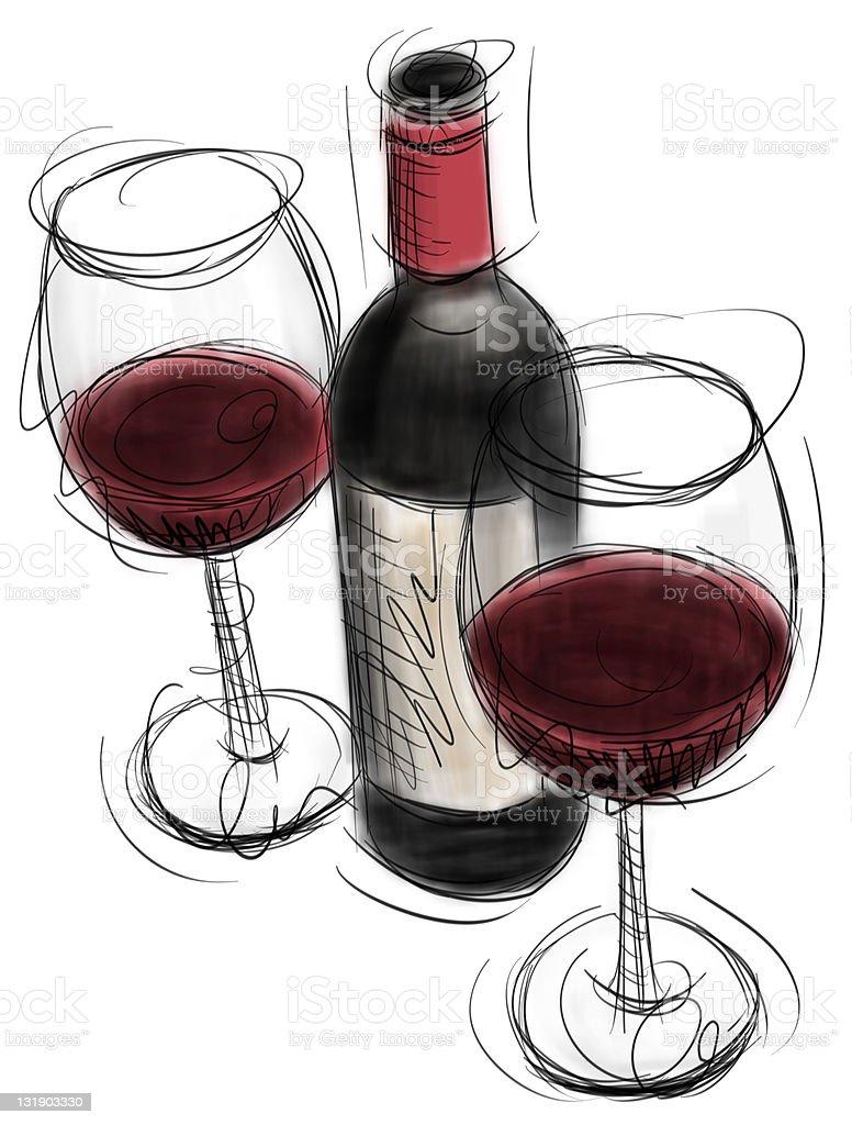 wine bottle and glasses vector art illustration