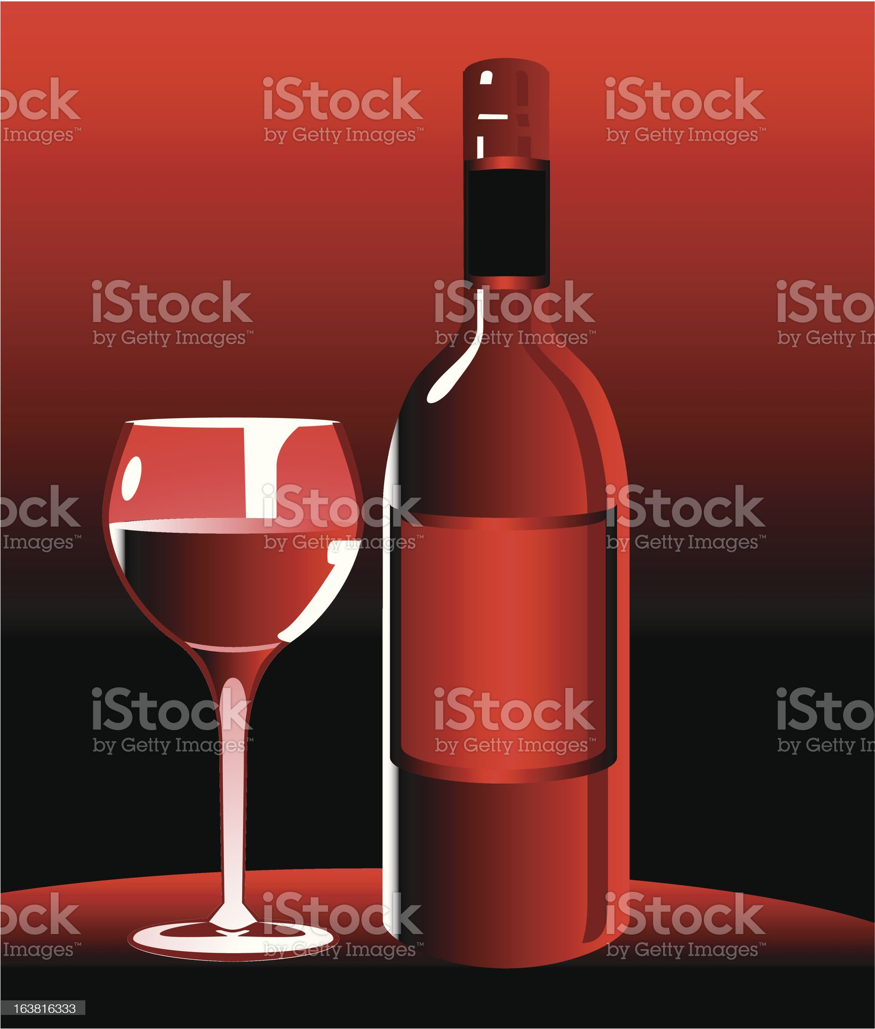 Wine bottle and Wineglass Still life royalty-free stock vector art