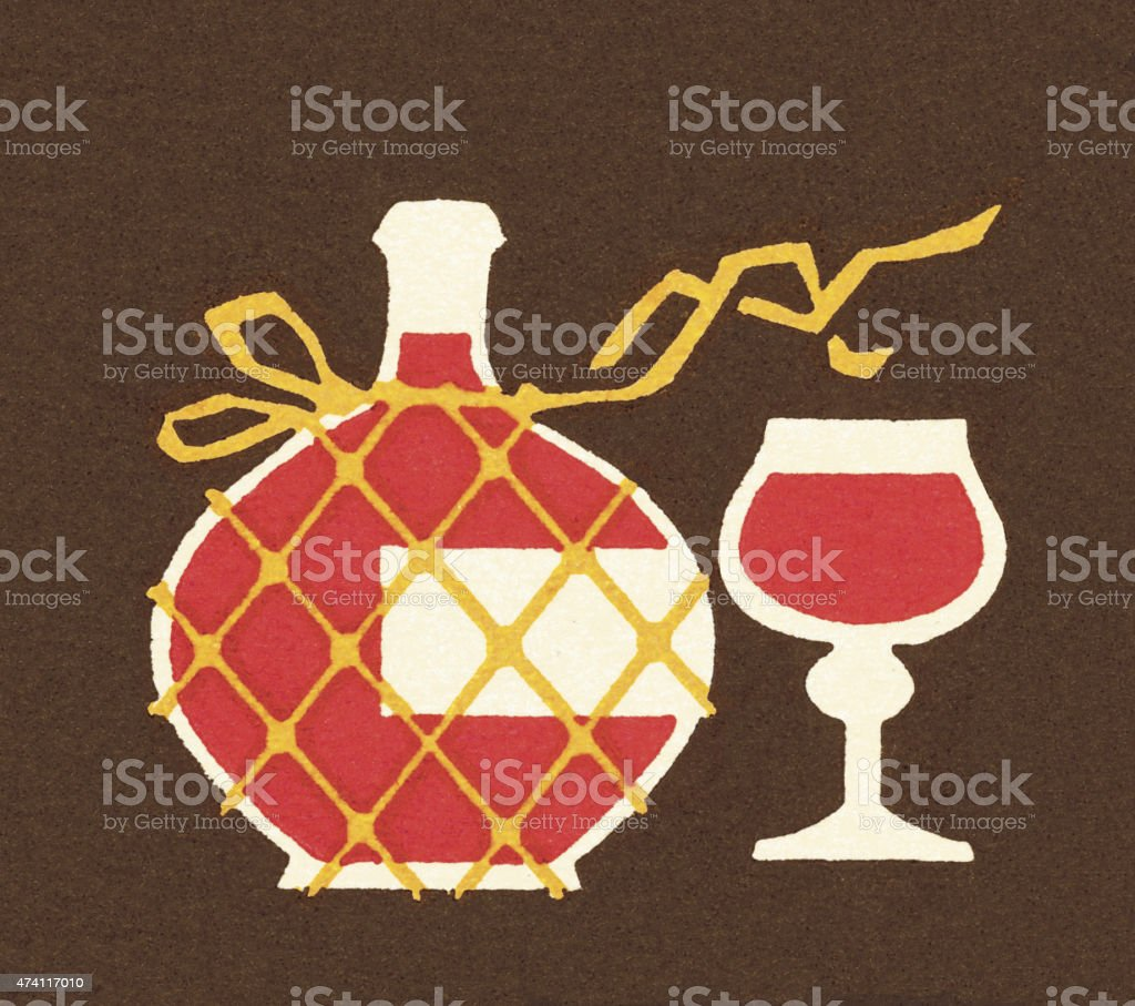 Wine Carafe and Glass vector art illustration