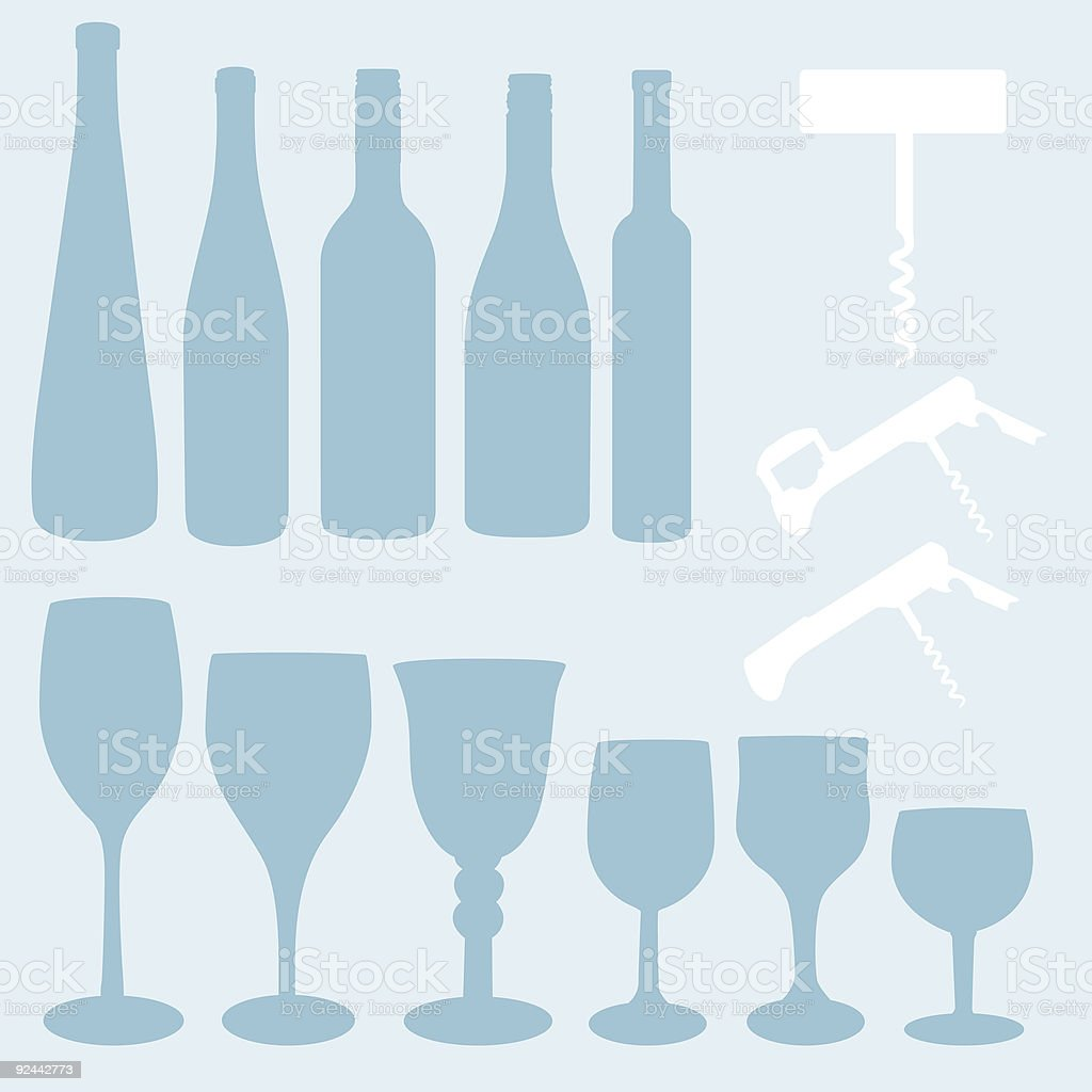 Wine Elements vector art illustration