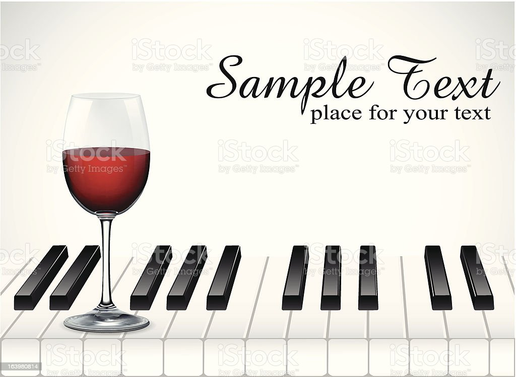 wine glass and piano key on white background royalty-free stock vector art