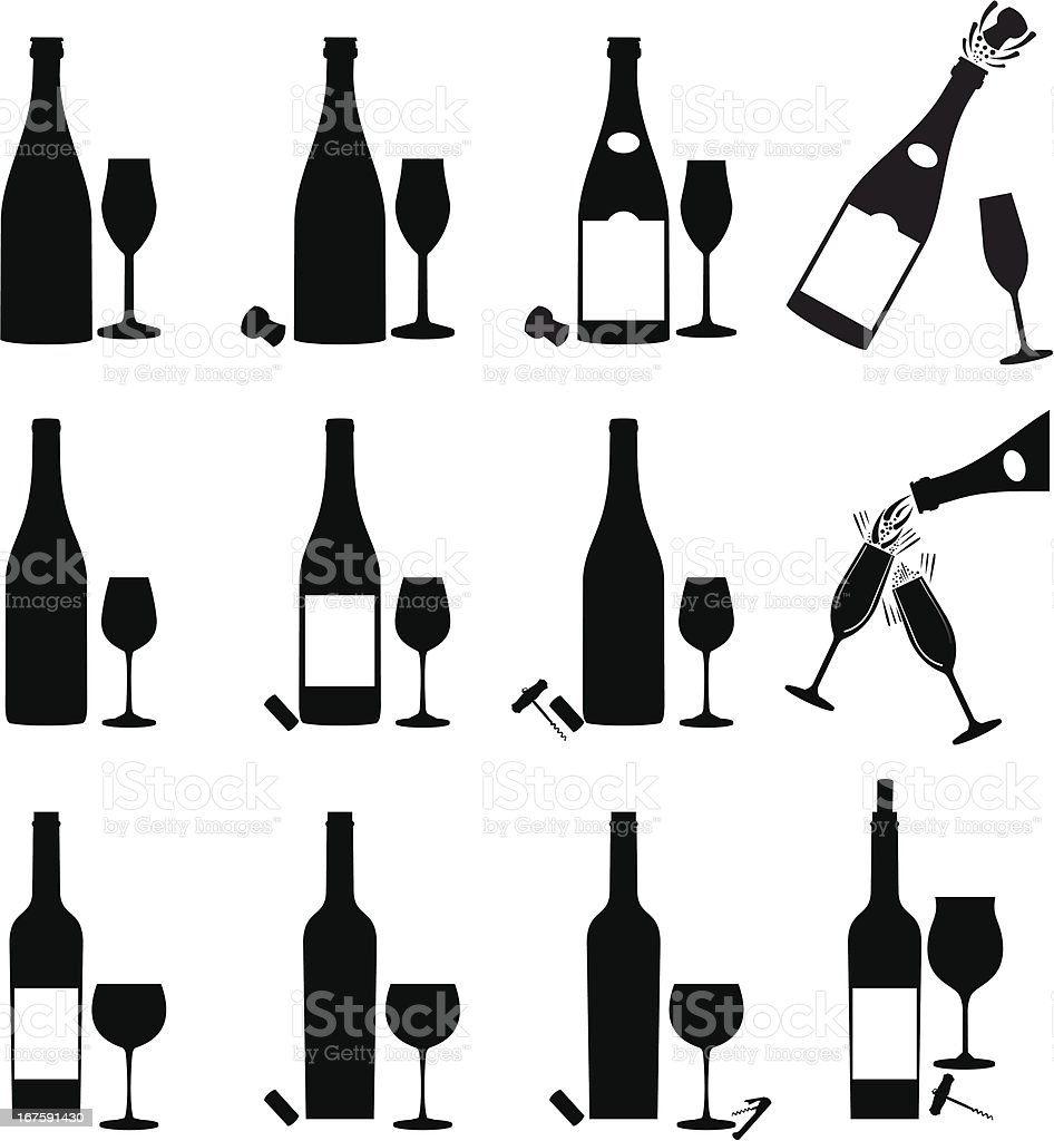 Wine Icon Set vector art illustration