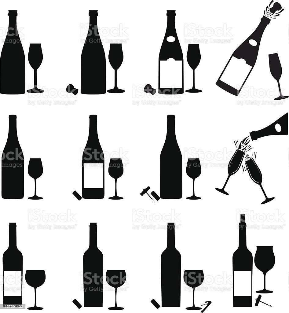 Wine Icon Set vector art illustration