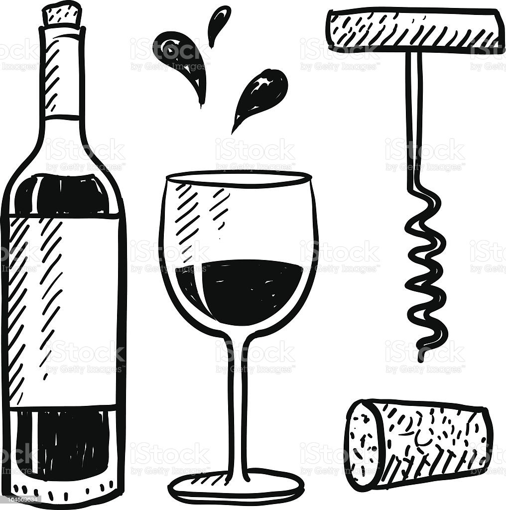 Wine objects vector set vector art illustration