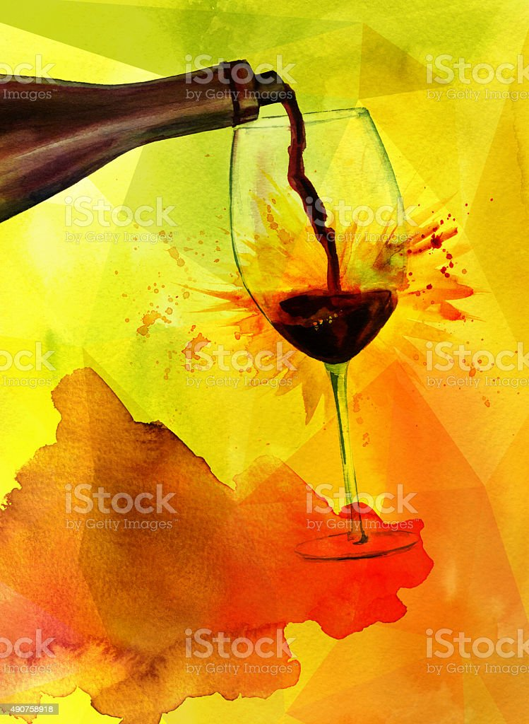 Wine poster design, red wine on golden textured background vector art illustration