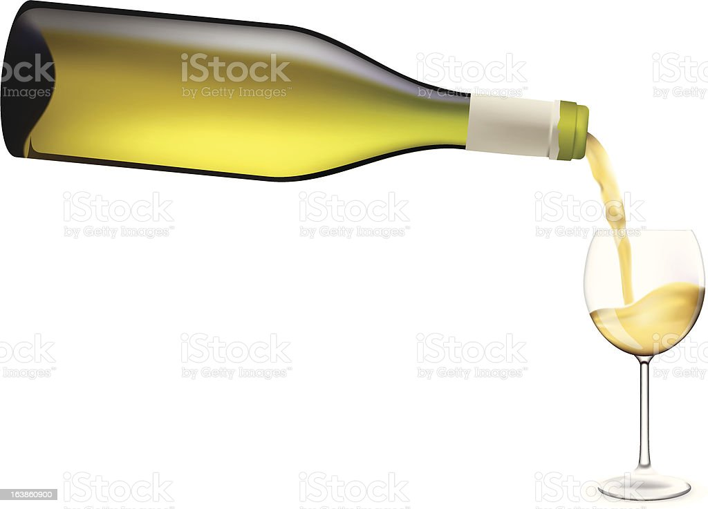 Wine pouring into glass. royalty-free stock vector art