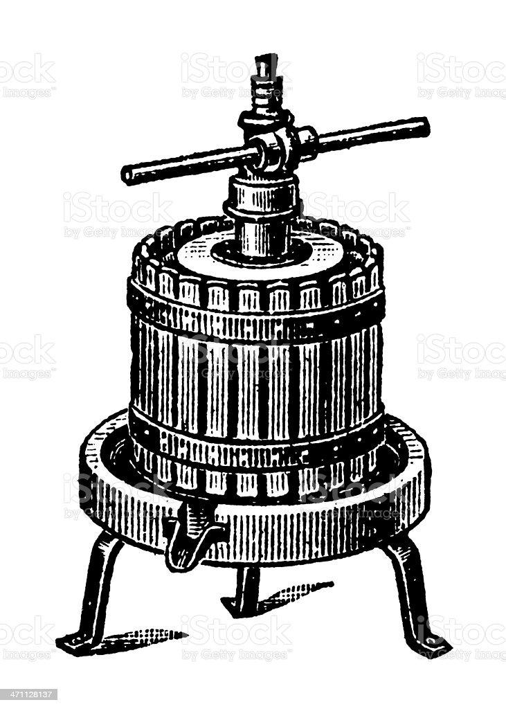 Wine press vector art illustration