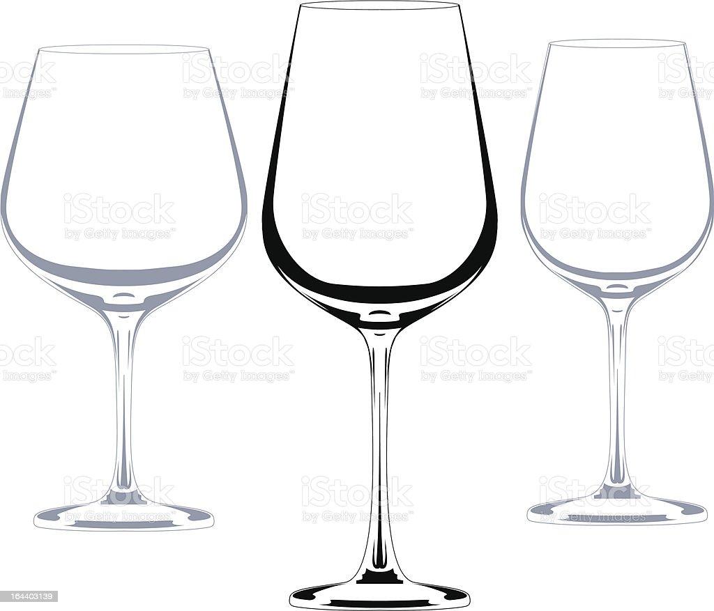 wine set of glasses vector art illustration