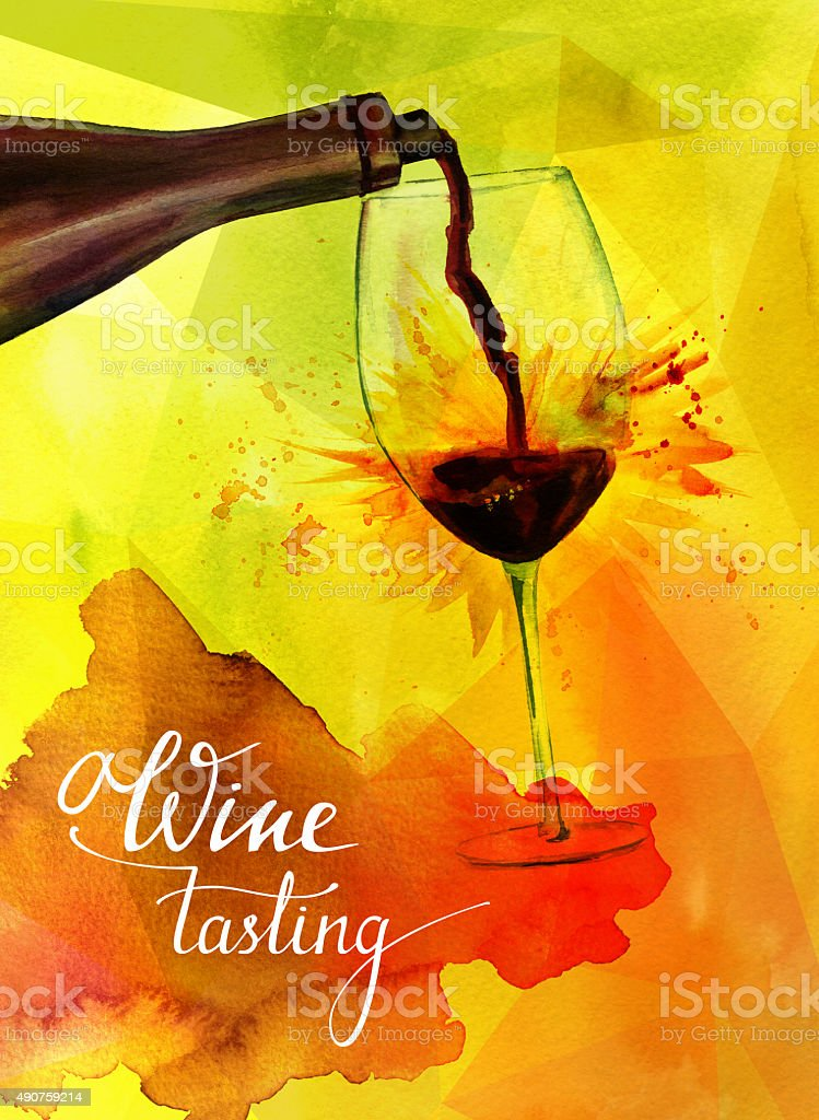 'Wine tasting' poster with red wine and textured golden background vector art illustration
