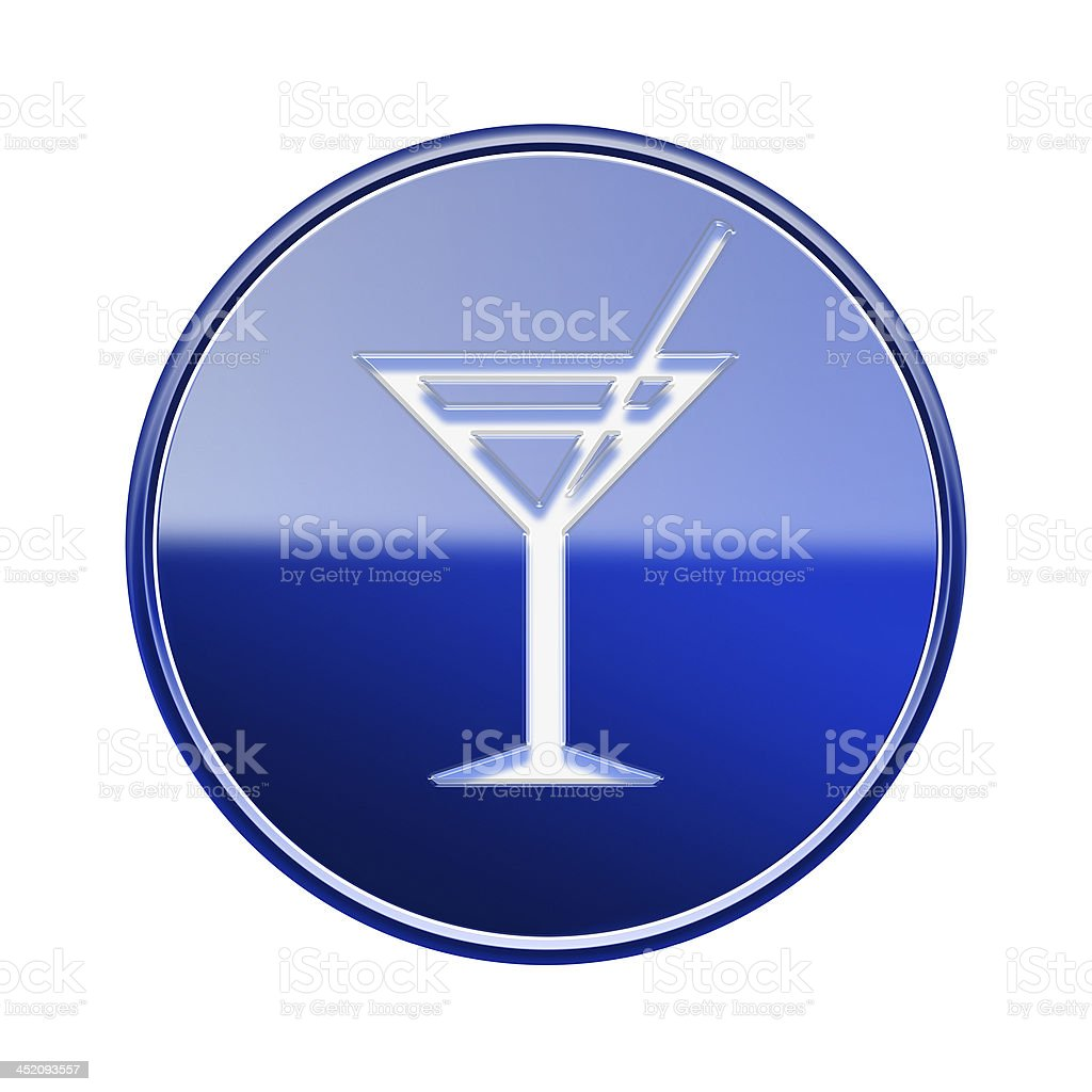 wineglass icon glossy blue, isolated on white background. royalty-free stock vector art