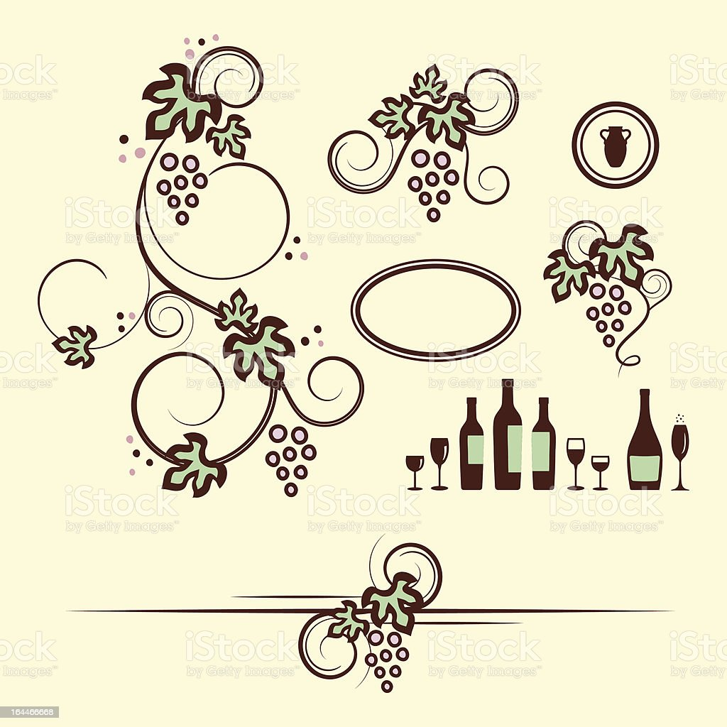 Winery design objects set. royalty-free stock vector art