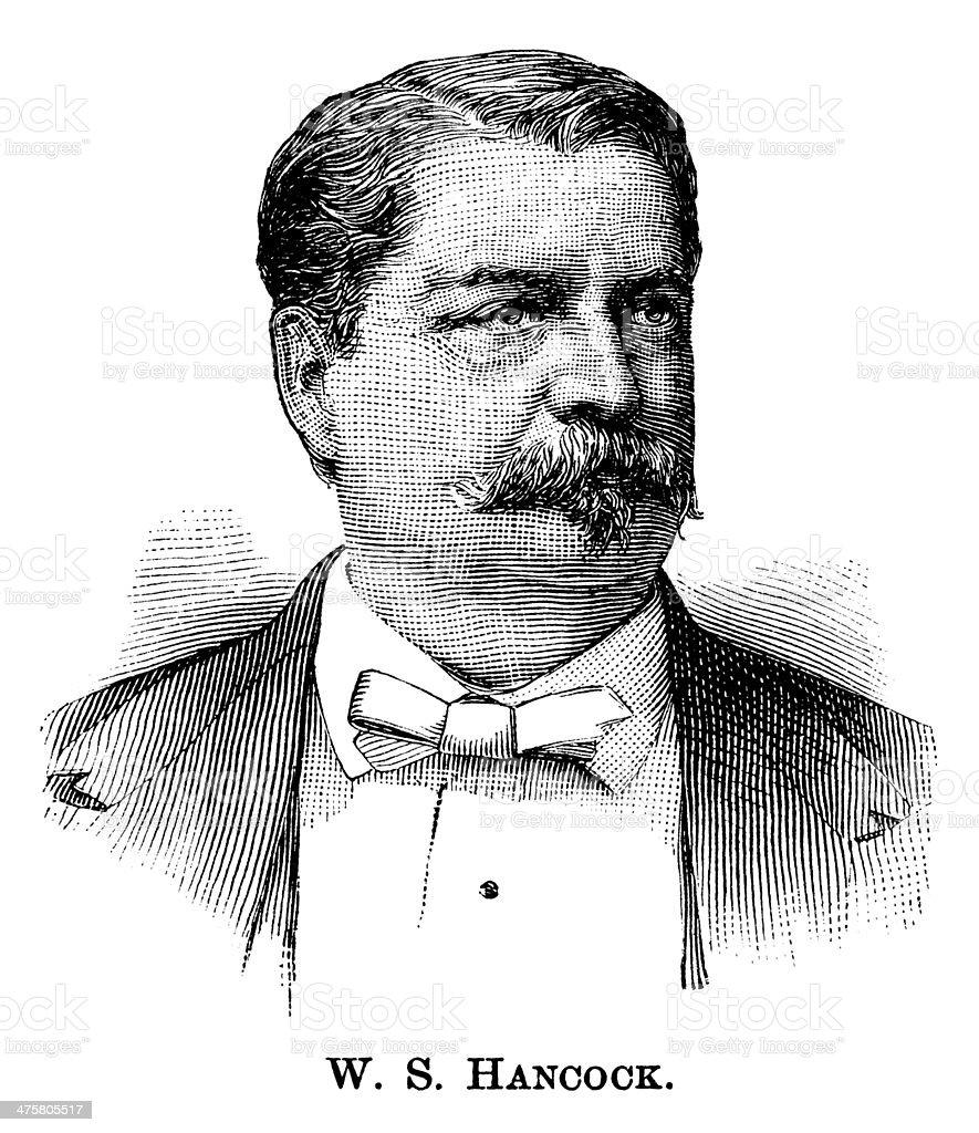 Winfield Scott Hancock - Antique Engraved Portrait vector art illustration