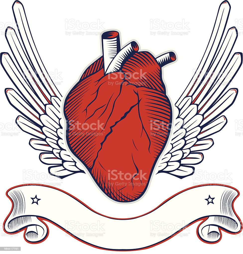 wing human heart icon royalty-free stock vector art