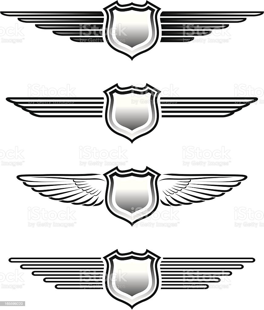 Winged badges royalty-free stock vector art