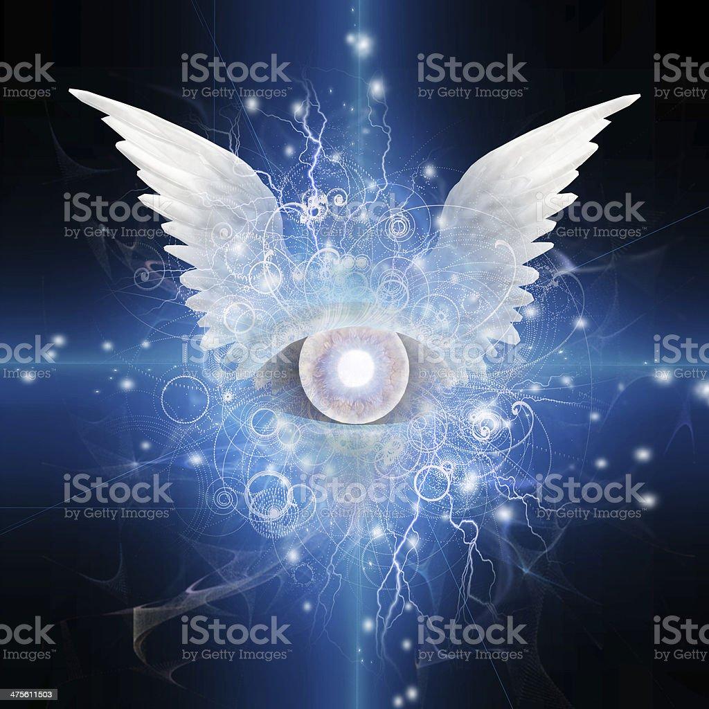 Winged Eye vector art illustration