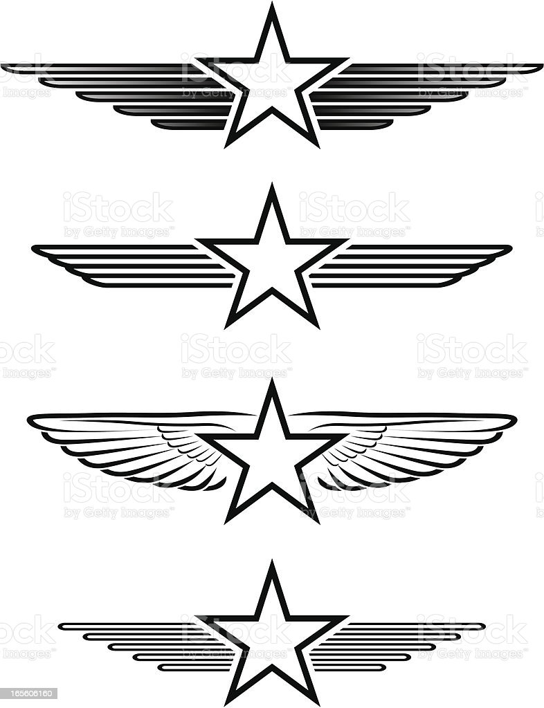 Winged stars royalty-free stock vector art