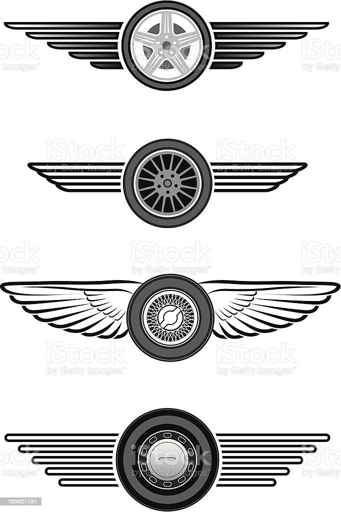 Winged wheels vector art illustration