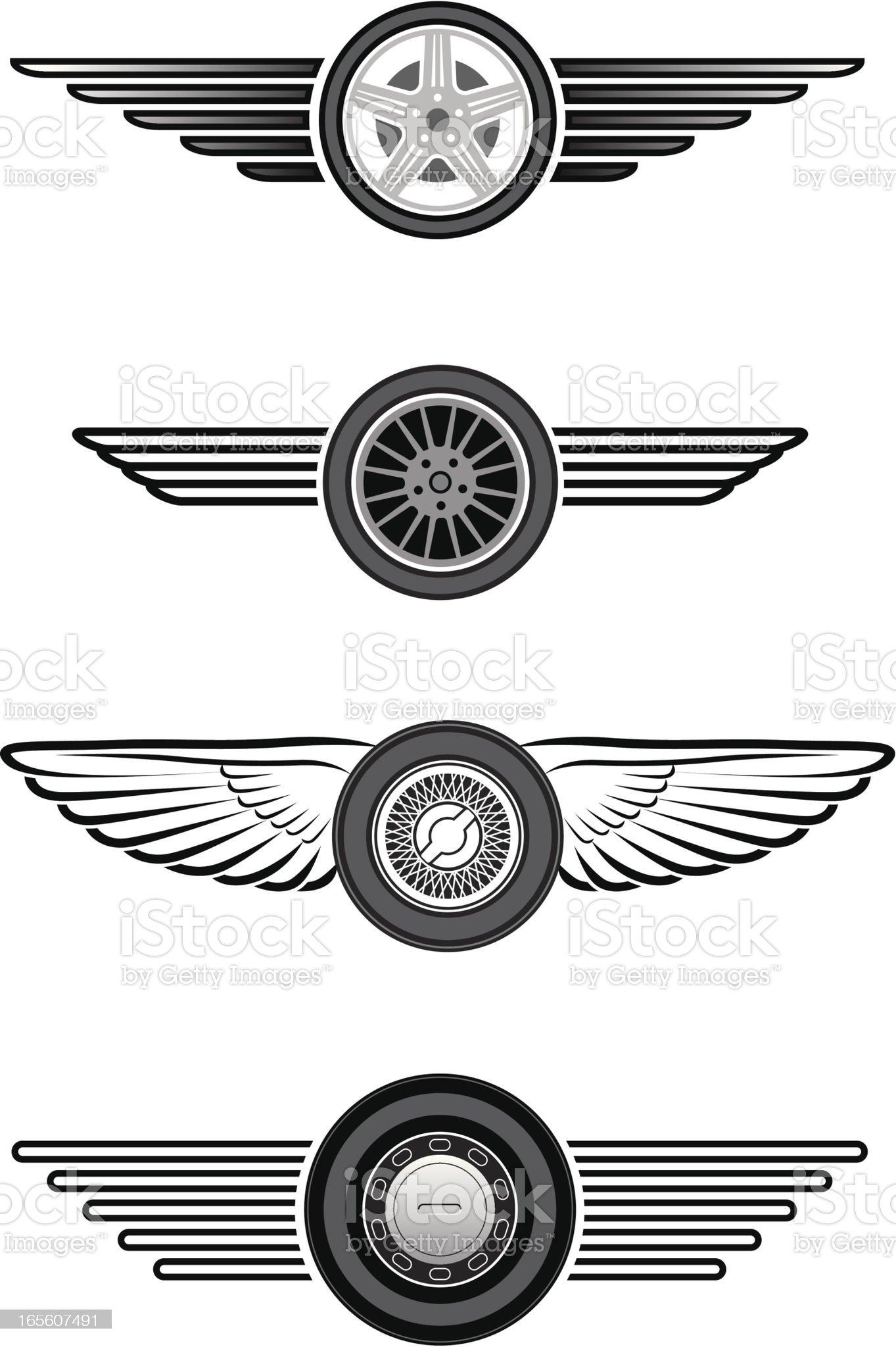 Winged wheels royalty-free stock vector art