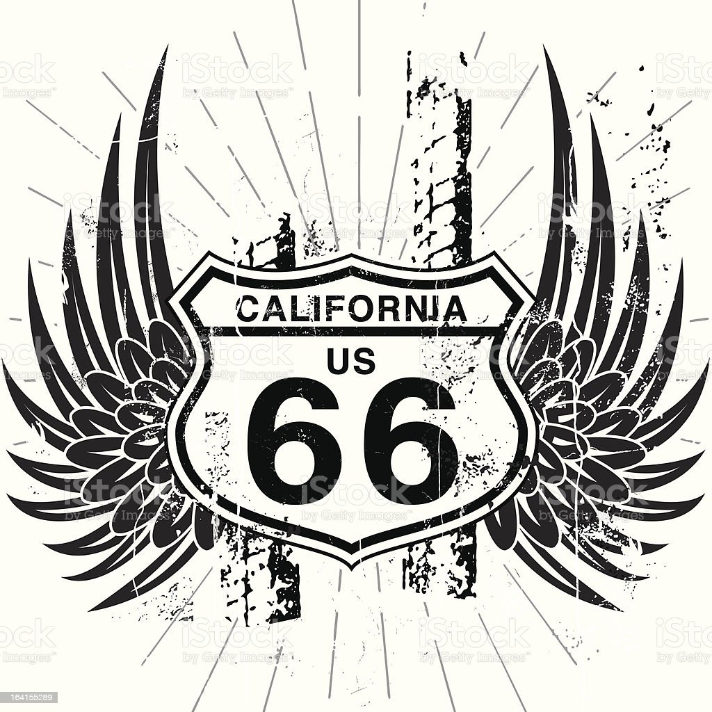 Winging it on Route 66 royalty-free stock vector art