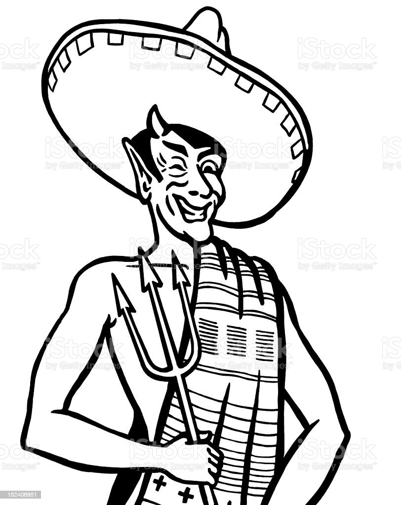Winking Mexican Satan royalty-free stock vector art