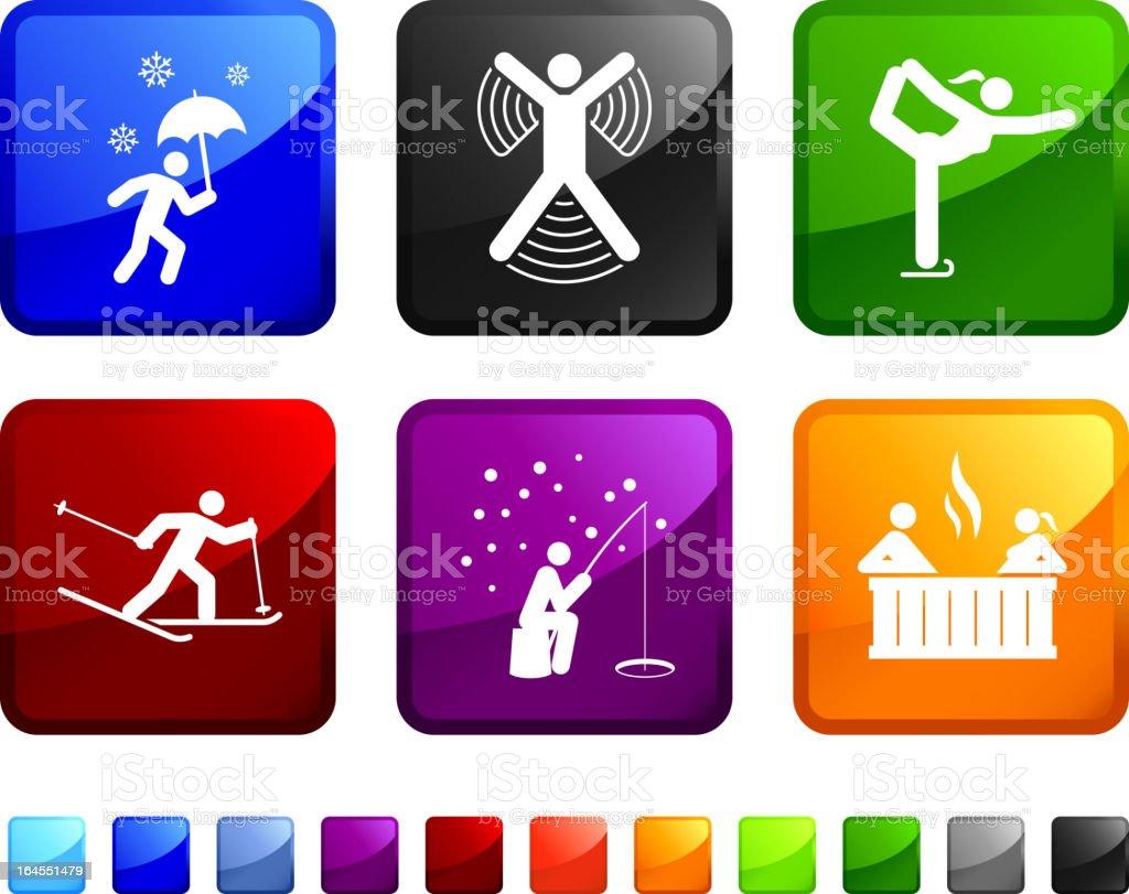 Winter Activity royalty free vector icon set vector art illustration