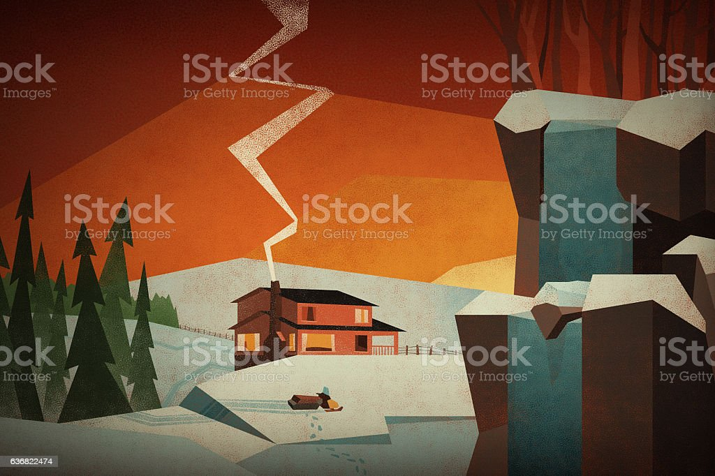 Winter at the cabin vector art illustration