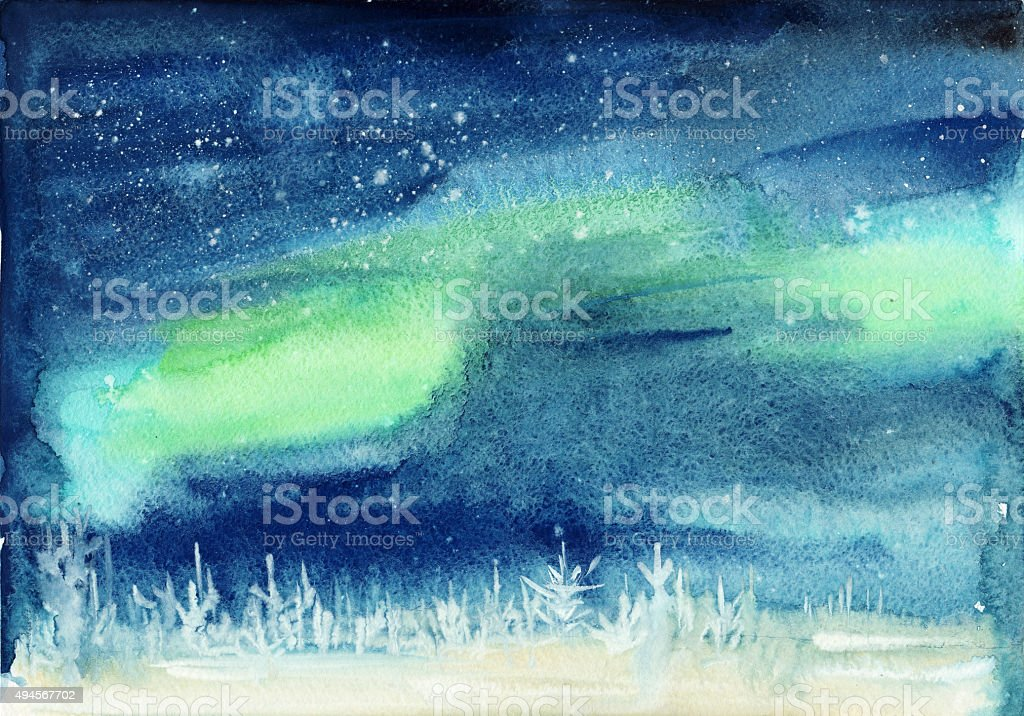 Winter aurora landscape vector art illustration