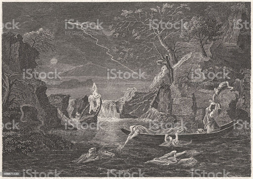 Winter (The Flood), by French painter Nicolas Poussin, published 1836 royalty-free stock vector art