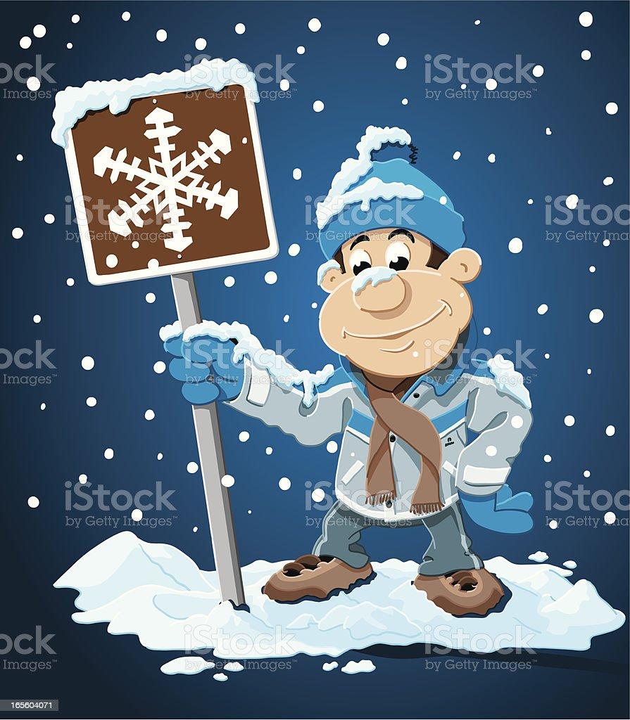Winter Cartoon Man Snowing Sign royalty-free stock vector art