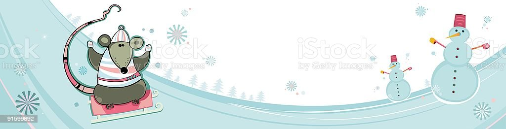 Winter, Christmas, New year, banner with rats royalty-free stock vector art