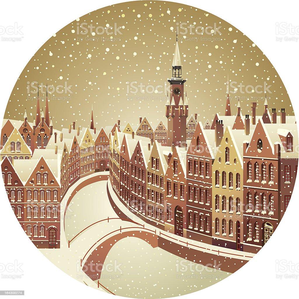 Winter city landscape royalty-free stock vector art