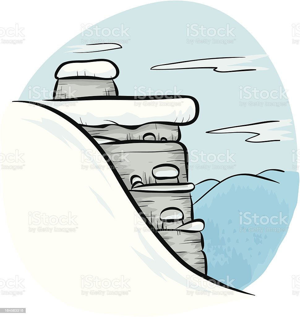 Winter cliff royalty-free stock vector art