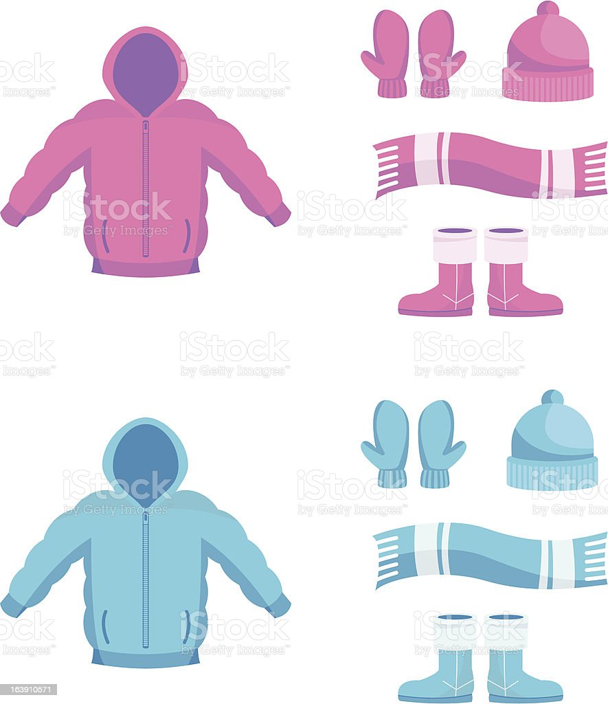 Winter clothing vector art illustration