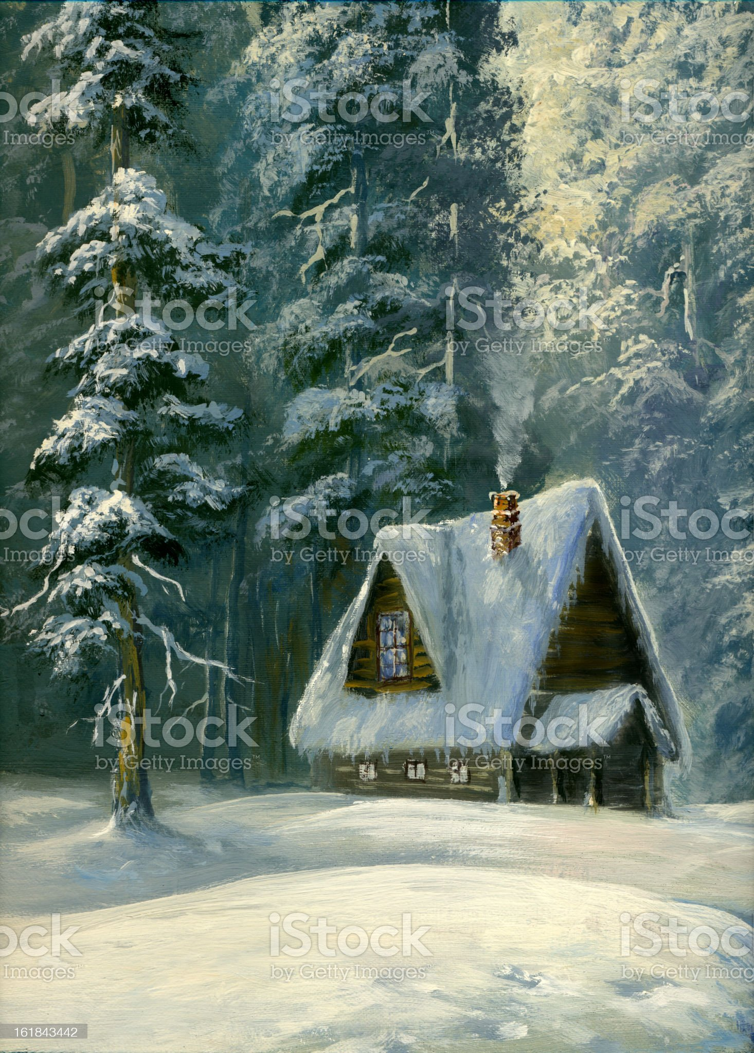 winter cottage royalty-free stock vector art