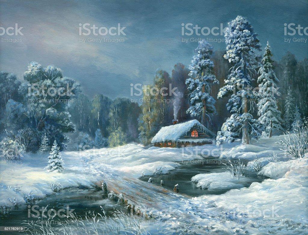 Winter fairy tale night vector art illustration