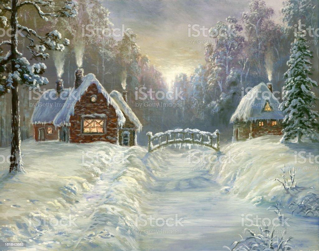 winter fairyland vector art illustration