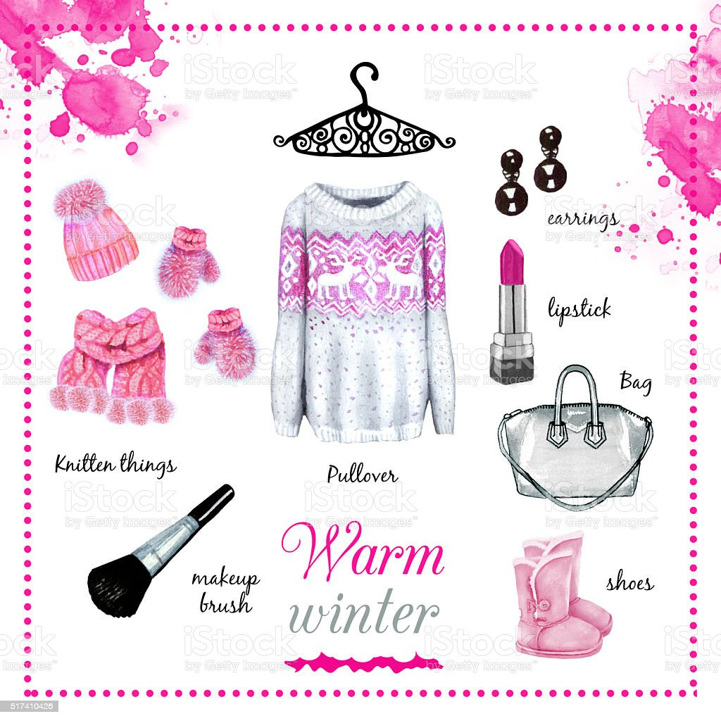 Winter fashion outfit watercolor set illustration stock photo