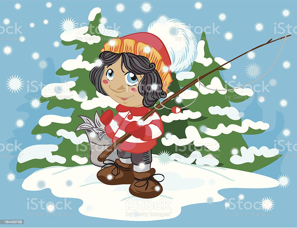Winter fishing royalty-free stock vector art