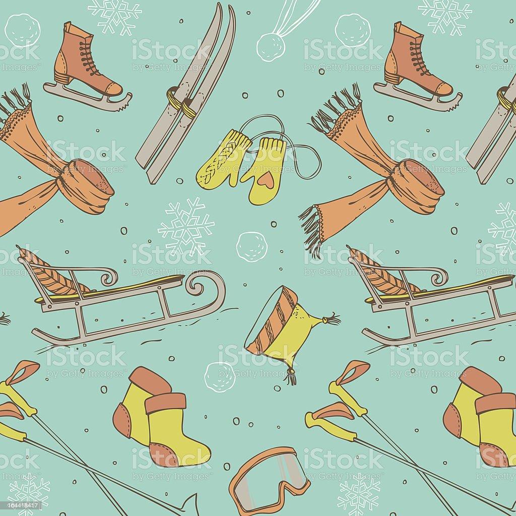 Winter fun seamless pattern royalty-free stock vector art